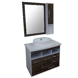 Gabinete para Banheiro com Armário e Espelho Berlim - Vintage