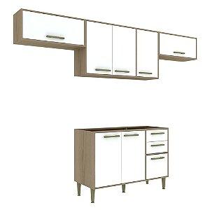 Armário de Cozinha Modulada Vitória CV009E - Avelã TX/Branco
