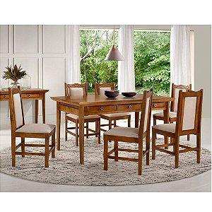 Conjunto de Mesa Madeira Maciça com 6 cadeiras Encanto - Mel
