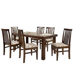 Conjunto de Mesa Essência Madeira Maciça com 6 Cadeiras União - Castanho