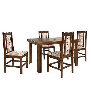 Conjunto de Mesa Essência Madeira Maciça com 4 Cadeiras Carisma - Castanho