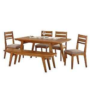 Conjunto de Mesa Madeira Maciça com 4 Cadeiras 1 Banco Esparta - Mel