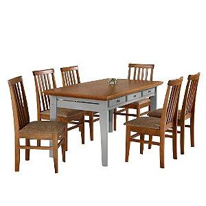 Conjunto de Mesa Madeira Maciça Encanto com 6 Cadeiras União - Mel