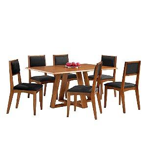 Conjunto de Mesa Madeira Maciça com 6 Cadeiras Bauhaus - Mel