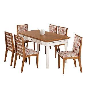 Conjunto de Mesa Madeira Maciça com 6 Cadeiras Encanto Tarcila - Mel