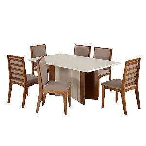 Conjunto de Mesa Madeira Maciça com 6 Cadeiras Tarcila - Mel