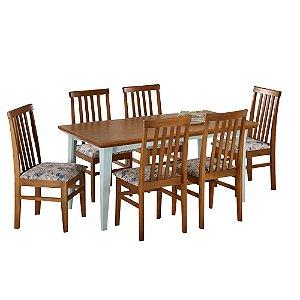 Conjunto de Mesa Madeira Maciça com 6 Cadeiras União - Mel/Azul