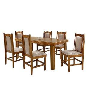 Conjunto de Mesa Madeira Maciça com 6 Cadeiras Essência Encanto - Mel