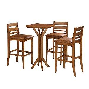 Conjunto de Mesa Madeira Maciça com 3 Banquetas Bistrô Boêmia - Mel