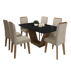 Conjunto de Mesa Diamante com 6 Cadeiras - Black/ Caramelo