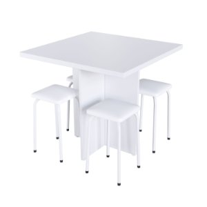 Conjunto Mesa Verona com 4 Banquetas - Branco