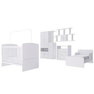 Quarto de Bebê Completo Alladin - Berço Minicama, Colmeia, Cômoda e Roupeiro - Branco