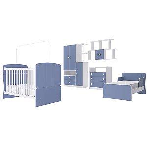Quarto de Bebê Completo Alladin - Berço/Minicama, Colmeia, Cômoda e Roupeiro - Azul