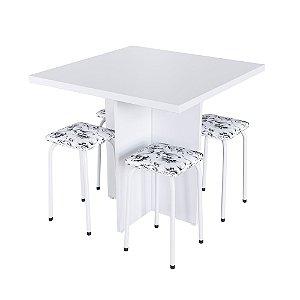 Conjunto Mesa Verona com 4 Banquetas -Floral Branco