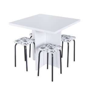Conjunto Mesa Verona com 4 Banquetas - Floral Branco/Preto