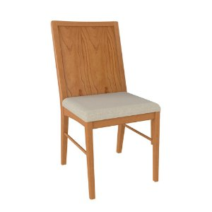 Cadeira de Madeira Maciça Argonne - Off White/Champagne