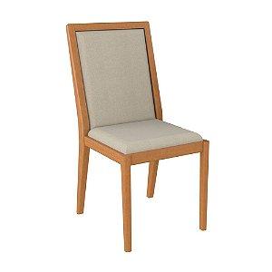 Cadeira de Madeira Maciça Columbia - Off White/Champagne