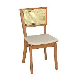 Cadeira de Madeira Maciça Paris - Off White/Champagne