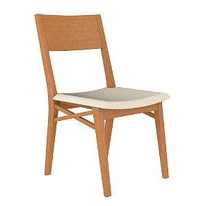Cadeira de Madeira Maciça Merlot - Champagne/Off White
