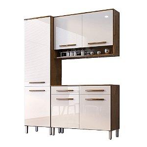 Cozinha Modulada Compacta 3 Peças - Castanho/Off-White