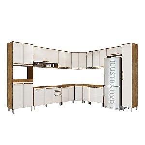 Cozinha Modulada 14 Peças Diamante - Castanho/Off-White