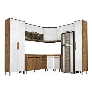 Cozinha Modulada 10 Peças Ouro - Castanho/Branco