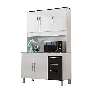 Kit Cozinha 1,20 Gêmeos 5 Portas 3 Gavetas – Branco/Preto