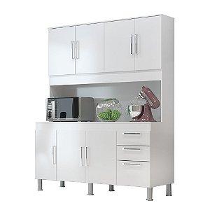 Kit Cozinha 1,50 Gêmeos 7 Portas 3 Gavetas – Branco