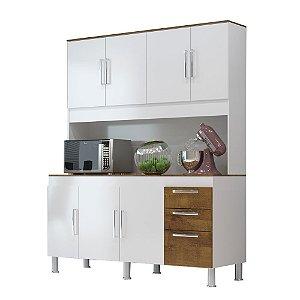 Kit Cozinha 1,50 Gêmeos 7 Portas 3 Gavetas – Branco/Castanho