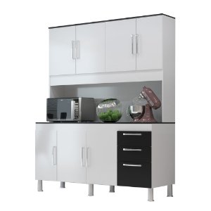 Kit Cozinha 1,50 Gêmeos 7 Portas 3 Gavetas – Branco/Preto