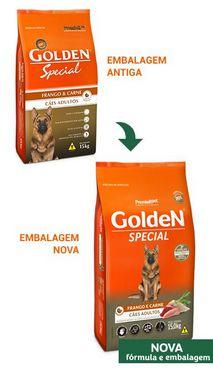 RAÇÃO GOLDEN SPECIAL CÃES ADULTOS FRANGO E CARNE 20 KG