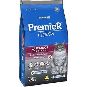 RAÇÃO PREMIER AMBIENTES INTERNOS GATOS CASTRADOS 7-12 ANOS FRANGO 7,5KG