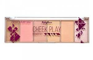 Paleta Iluminador, Blush e Contorno Ruby Rose Cheek Play HB-7515