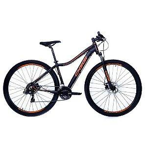 Bicicleta Aro 29 OGGI Float Sport 2019 21V Preto/Laranja Feminina