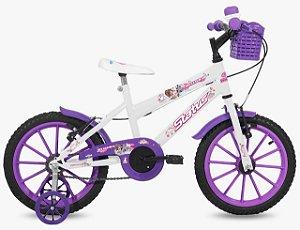 Bicicleta Aro 16 Status Branco/Violeta
