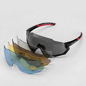 Óculos Rockbross Polarizado Preto/Vermelho com 5 Lentes