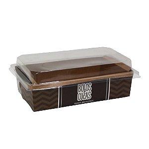 Forneavel para bolo ou cuca com tampa - cor pardo   10 unidades