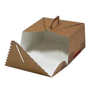 Caixa para bolo gourmet com alça - Kraft - 10 unidades