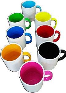 Caneca plastico polimero bicolor - 12 unidades