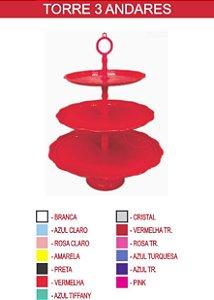 Torre para doces 3 andares cor vermelha