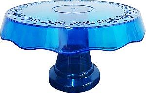 Boleira simples ou porta bolo cor azul cristal