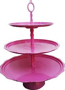 Torre para doces 3 andares cor rosa