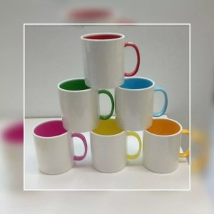 Caneca plastico polimero bicolor - 06 unidades