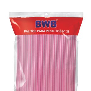 Palito para pirulito grande cor rosa - 50 unidades
