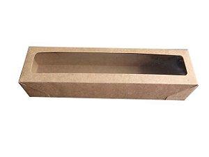 caixa kraft com visor para doces Urca c/ 10 unidades- 20,3 x 5 x 4 cm