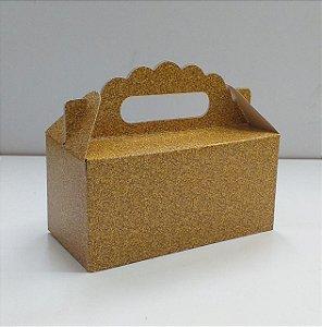 Caixa Maleta P gliter dourada natal 16x8x8 cm - 05 unidades