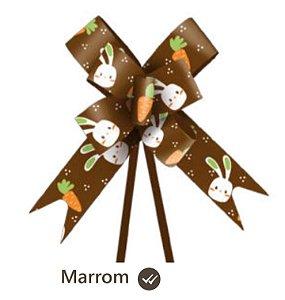 Laço pronto pascoa coelho marrom 2,3 cm x 42 cm- 10 unidades