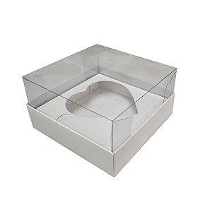 Caixa para ovo de pascoa de colher - coração branco - 500 gramas - 05 unidades