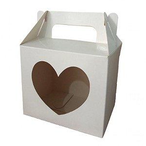 caixa caneca sublimação com visor de  coração - 50 unidades