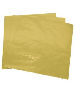 Embalagem laminada para bolo cor dourada 20x22 50 unidades